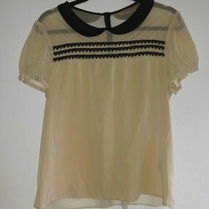 Tan blouse w/Peter Pan collar Vera Wang XL